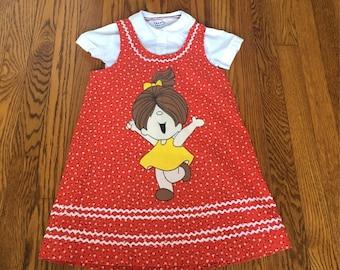 Vintage Character Red Floral Dress