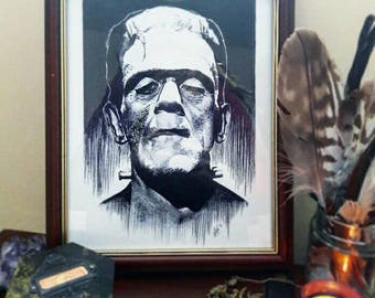 Horror art print of Frankensteins monster Mary shelley realism black and white 8x10 inches
