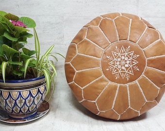 Moroccan leather pouf  handmade leather pouf  ottoman LP1