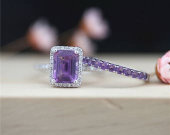 2 Rings 14K White Gold VS 6*8mm Emerald Cut Amethyst Engagement Ring Amethyst Band Art Deco Wedding Ring Bridal Ring Set Anniversary Ring