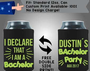I Declare That I am A Bachelor Collapsible Neoprene Bachelor Party Can Cooler Double Side Print (Bach109)