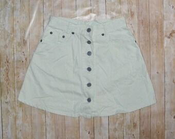 Size 6-8 vintage 70s button front a line mini skirt mint green cotton (HS07)
