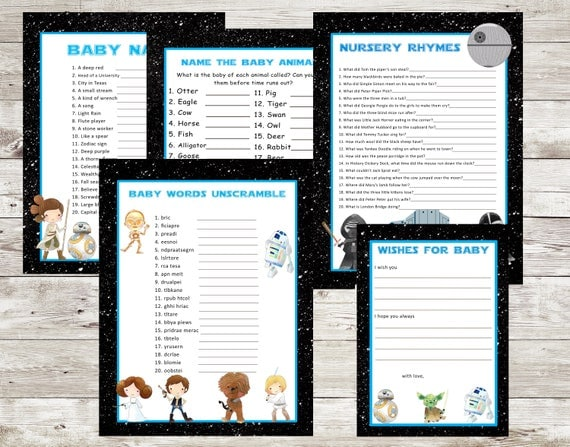 Star Wars Baby Shower Games Pack, digital downoads, unscramble, baby names, printable baby shower games, Wishes for baby,