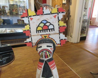 """Old Kachina w/ Large Tablita. Single body. Repaired.  13"""" tall, 6 3/8"""" wide, 3"""" deep. As is."""