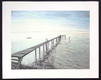 "Picture of the ""evening mood at the Ammersee"" as Giclée graphic only 10 numbered and signed copies Volker Mayr"