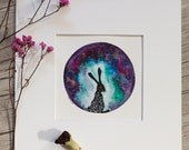 """Celestial Hare 4.5""""x4.5"""" ORIGINAL painting matted for 8x10 framing"""