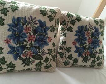 Needlepoint floral pair of pillows