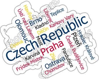 Czech Republic Prague Country Map Word Cloud Car Bumper Vinyl Sticker Decal