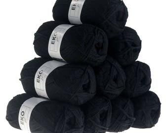 10 x 50 g knitting wool EKO FIL, #012 black