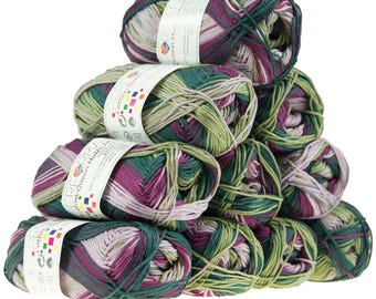 10 x 50 g knitting wool cotton Queen multi, #10453 green white purple