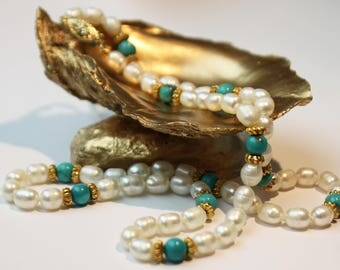 Turquoise Freshwater Pearl Necklace, 14k Yellow Gold Clasp SKU TQ19SOVMGY