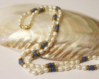 Blue Quartz Freshwater Pearls Necklace 24 Inches SKU BQ24MOVSGY