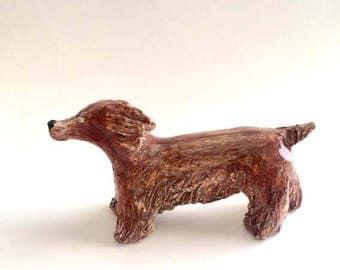 Charlie dog ceramic sculpture, Dog Collection, small art sculpture, pottery, art animal, handmade clay dog, figurine,