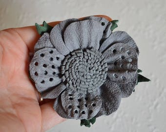scrunchy leather jewelry Hair Accessories charm jewelry unusual jewelry nature gifts nature inspired gray flower gray jewelry gift under 30