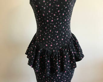 Betsey Johnson Rosebud Peplum Punk Label 1980's Dress