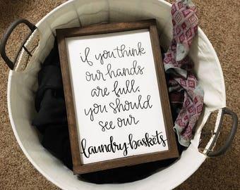"Laundry Baskets Framed Wood Sign 9x13"""
