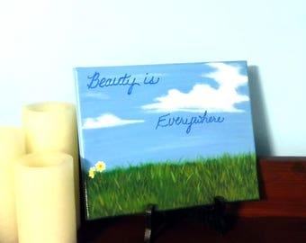 Wall Art Hanging Home Decor Original Acrylic Hand Painted 8 x 10 Wrapped Canvas Daisies Grass Quote Landscape Gift