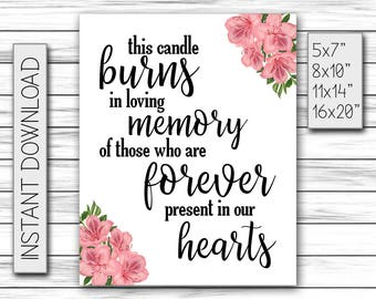 This Candle Burns in Loving Memory of Those Forever Present in our Hearts, Wedding Memorial Sign, Wedding Decor, Printable DIGITAL FILE Only
