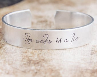The Cake Is A Lie / Portal Jewelry / Portal Gift / Video Game Jewelry / Video Game Gift / Chell / Glados / Nerdy Jewelry / Geeky Jewelry