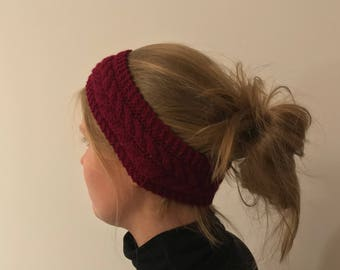 """Headband """"Sissi's braid"""" with braid pattern in red made of acrylic-vegan"""