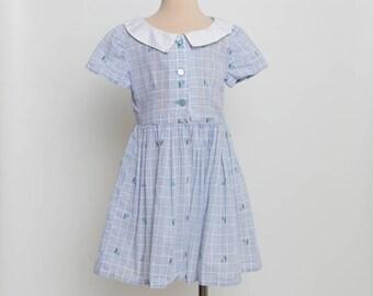 vintage 1950s girl's shirtwaist dress