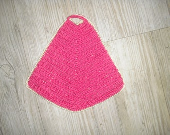 crocheted in cotton, two-tone kitchen pot holder one side bright pink and another off white to match to your