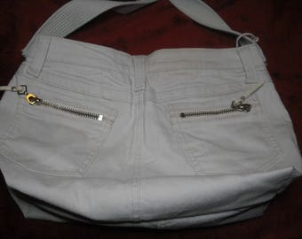 fully lined off white denim handbag
