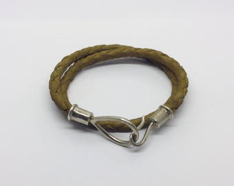sterling Silver leather wrap bracelet necklace  #111