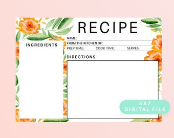 Printable Recipe Card, Orange Floral Recipe Card, Front and Back, 5x7 DIGITAL FILE