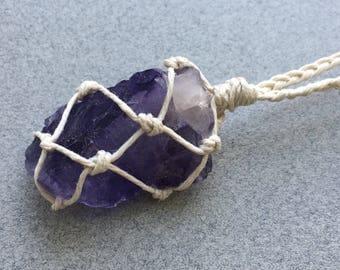 Purple Fluorite Necklace, Raw Gemstone, Rough Gemstone, Healing Necklace, Crystal Necklace, Festival Necklace, Boho Necklace, Vegan (55)