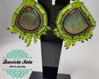 Green labradorite earrings