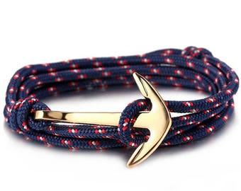 Bracelet anchor gold cord black Bracelet marine Collection jewelry 2017