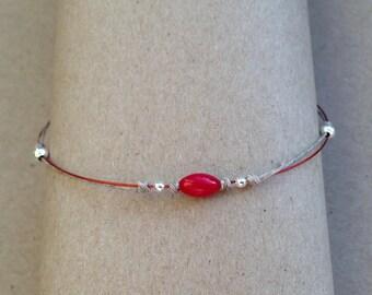 Coral linen filigree bracelet handmade red beige oargent