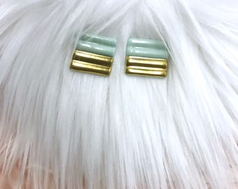 Medium Turqouise & Gold Geometric Earrings