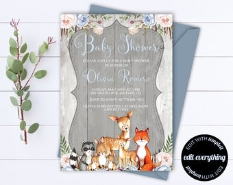 Rustic Baby Shower Invitation Template - Boy Baby Shower Invite - Woodland Animal Baby Shower Template - Rustic Baby Boy Shower invitation