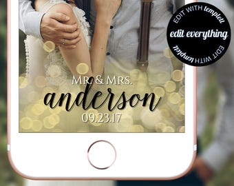 Mr and Mrs Snapchat Filter - Mr and Mrs Snapchat Geofilter - Mr and Mrs Wedding Geofilter - Wedding Snapchat Geofilter - Gold Geofilter