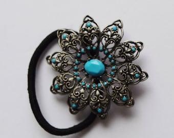 Vintage Turquoise Hair Ponytail Holder Vintage Hair Tie Elastic Metal Hair Tie Hair Jewelry Hair Concho