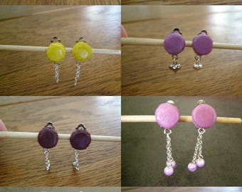 choose clip, button earrings