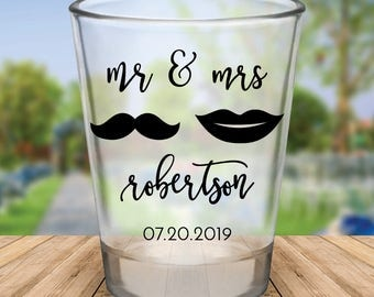 "Custom ""Mr. & Mrs."" Wedding Favor Shot Glasses"