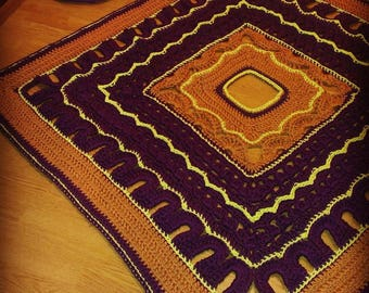 """Crochet Carpet """"Tiles"""" linked segment durable polyester cort/3D area rug/ floor lace living room mat/French country /"""