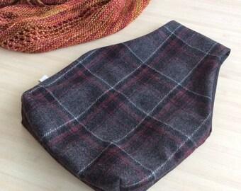 Sac nomade en tartan ! LE sac à projet pratique pour votre tricot ou crochet - Pochon