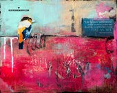 Colorful Abstract Wall Art with a Sweet Bird and an Even Sweeter Inspirational Quote
