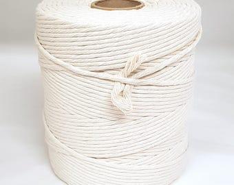 Anniversary Macramé Single Twist Cotton – 5kg Cone,20-44 Strand Macrame String, 4.5-10mm Macrame Rope,Huge 5000g Undyed Thick Macrame Cotton