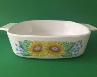 Vintage Corningware 1L 'Sunsations' Casserole Dish & Plastic Lid