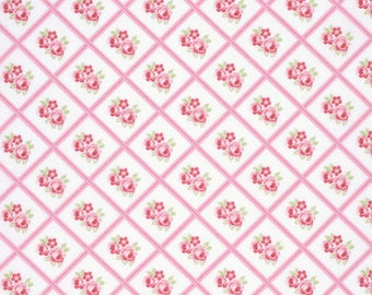 END OF BOLT - 5 Yards - Pink Libby Fabric, Lulu Roses Collection from Tanya Whelan - Shabby Chic Fabric - 100 % cotton , Quilting