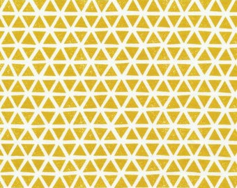 Knit - Triangles (Citron) - Cloud9 Fabrics - Organic Knit - Organic Interlock Knit Fabric - Knit Fabric - Interlock Knit -  54/55""
