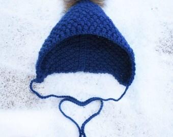 Pixie Bonnet, Baby Bonnet, Toddler Bonnet, Pixie Hat, Newborn Bonnet, Faux Fur, Baby Hat, Toddler Hat, Baby Shower Gift, New Baby Gift