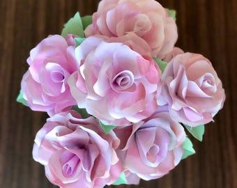 Watercolor Paper Flowers, Bouquet of 6 Stemmed Flowers