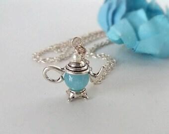 Blue quartz,teapot,teapot necklace,healing stone,semiprecious stone
