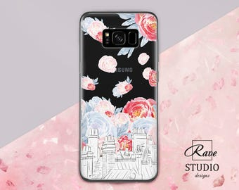 Building painting Rose case Cute s8 phone case City prints Floral Samsung case Galaxy 7 edge case Name phone case Clear galaxy s7 case
